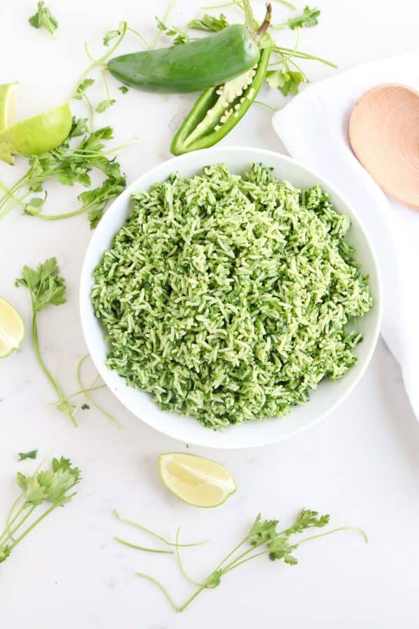 Instant Pot Green Veggie Rice in a bowl