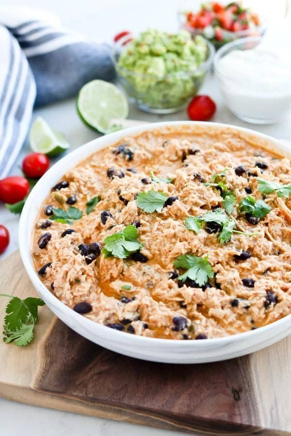 Instant Pot Mexican Inspired Healthy Crack Chicken in a bowl