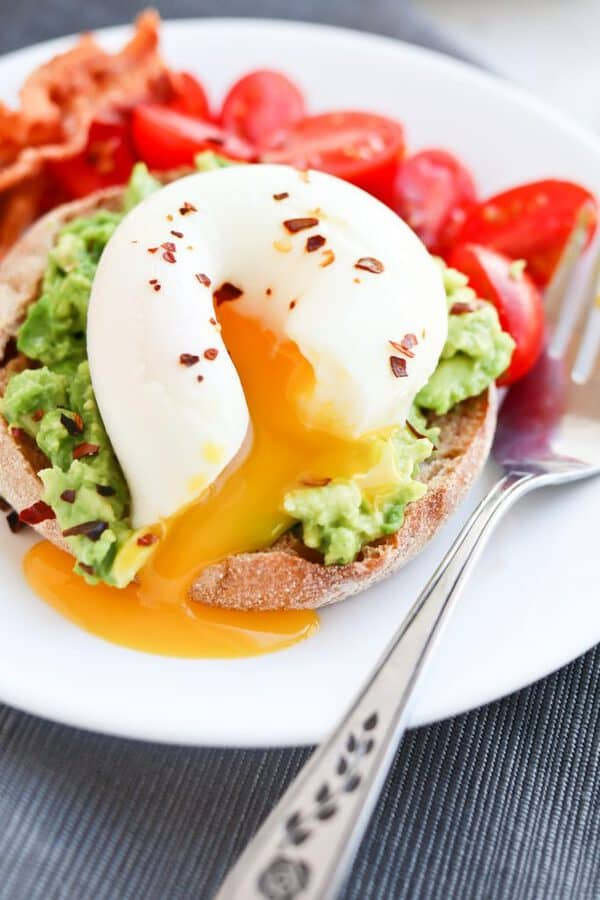 Instant Pot Easy Poached Egg on top of an English muffin