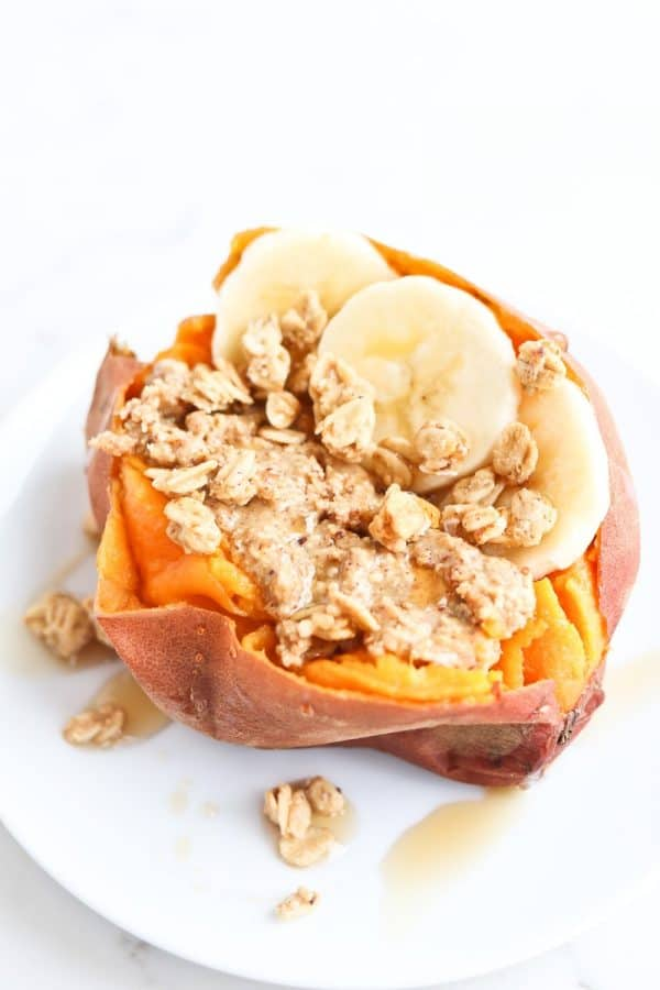 Instant Pot Sweet Potatoes with almond butter, bananas, and granola