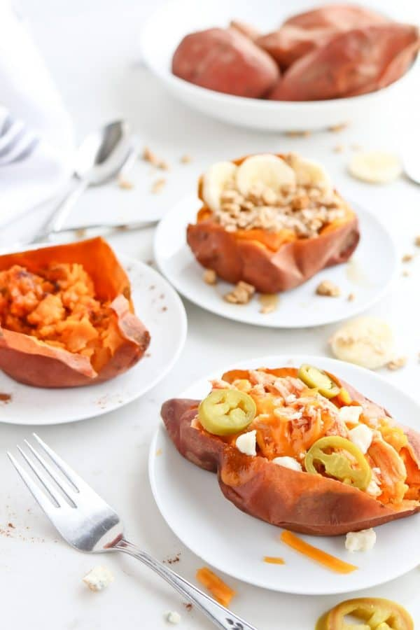Instant Pot Sweet Potatoes with 3 different toppings