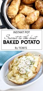 Instant Pot Baked Potato on a dish with sour cream and butter