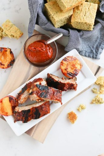Instant Pot Chipotle Peach BBQ Ribs on a plate
