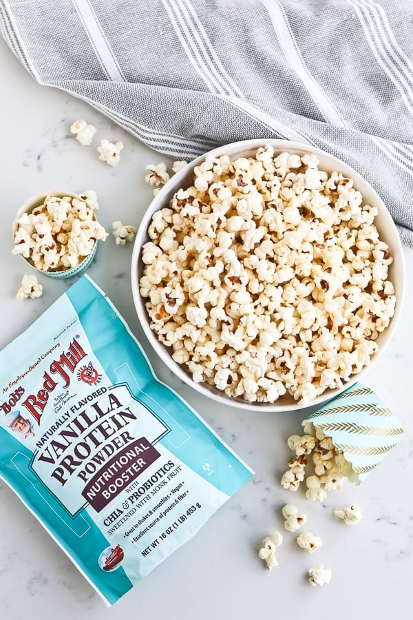 Instant Pot Vanilla Popcorn in a white bowl