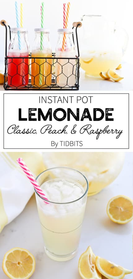 Instant Pot Lemonade is customizable in flavor and sweetness and can be whipped up in seconds for a refreshing cold drink #instantpot #lemonade #sweetdrink