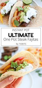 Instant Pot Steak Fajitas on a plate with guacamole