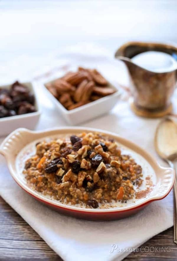 carrot cake steel cut oats in a bowl
