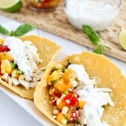 Instant Pot Easy Coconut Lime Fish Tacos with Peach Salsa and Basil Crema