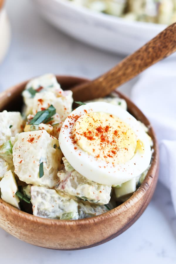 small bowl of potato salad with boiled egg