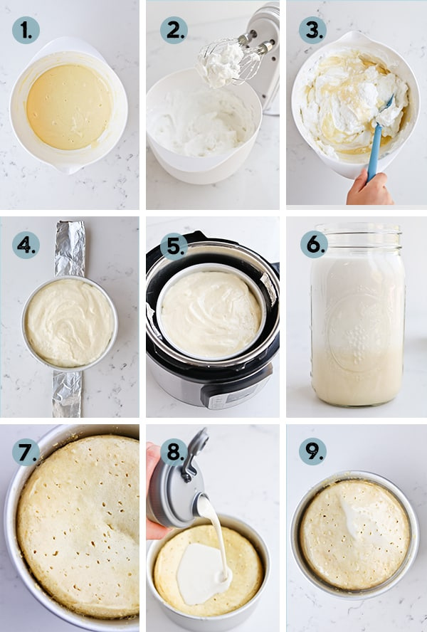 step by step collage of peaches and cream tres leches cake
