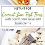 fish tacos with peach corns alsa and basil crema