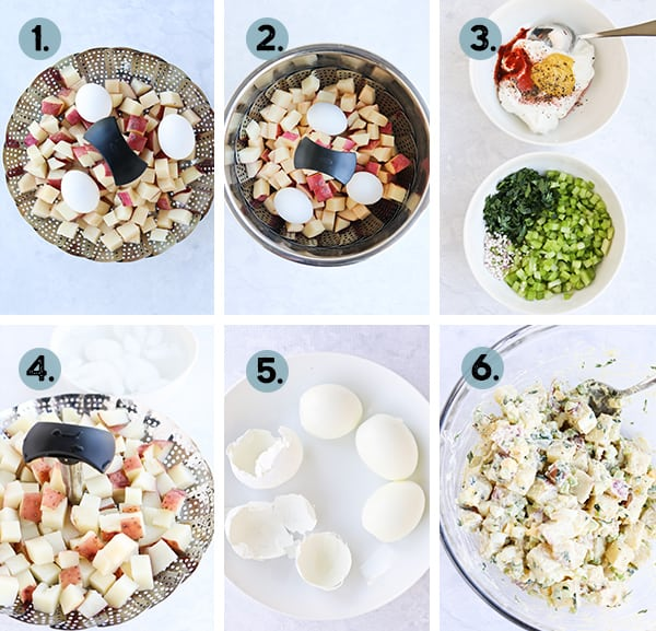 collage of steps for making potato salad