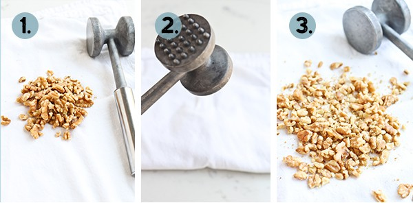 mallet with crushed walnuts