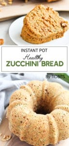 Instant Pot Healthy Zucchini Banana Bread is moist, flavorful, and amazing with a dollop of cream cheese yogurt sauce #instantpotrecipes #zucchinirecipes #zucchinibread
