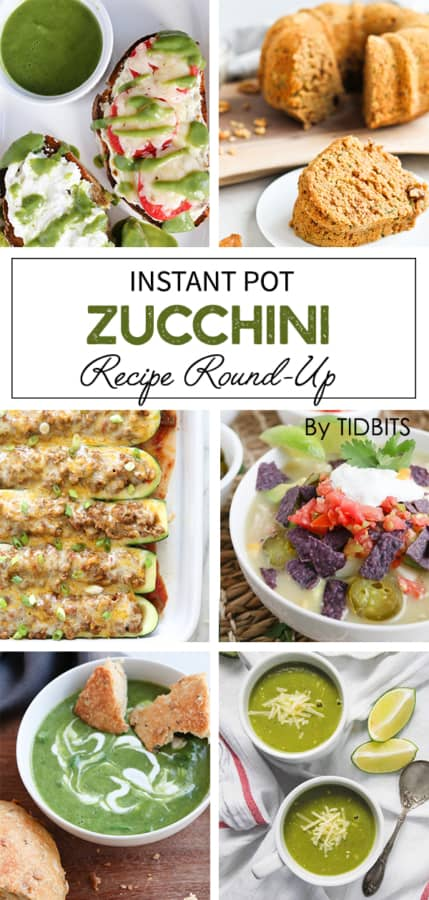 Instant Pot Zucchini Round Up.  Lots of amazing recipes to use up giant bounties of summer zucchini.  #zucchini #healthyrecipes #summerfood #zucchinirecipes #vegetables
