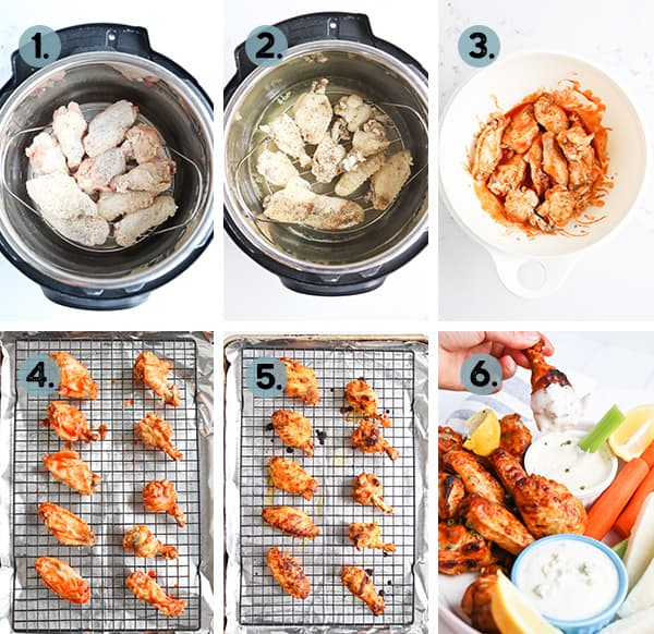 Step by step collage of how to make chicken wings in the instant pot