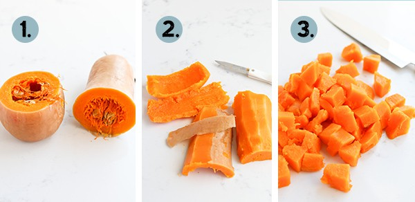 collage of how to peel and cut a butternut squash