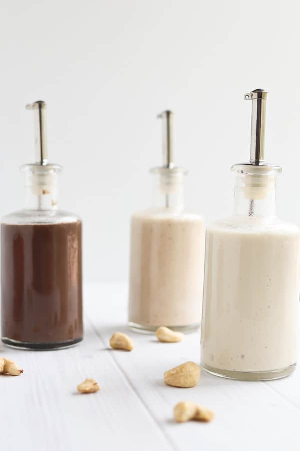 three bottles of cashew cream sauce