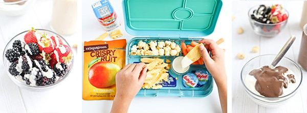 lunch box with fruit and dip