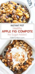 apple fig compote in a white bowl with cream