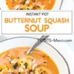 butternut squash soup in a white bowl with peanuts and basil