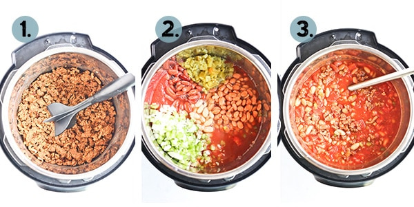 Step by step collage of how to make chili in an instant pot