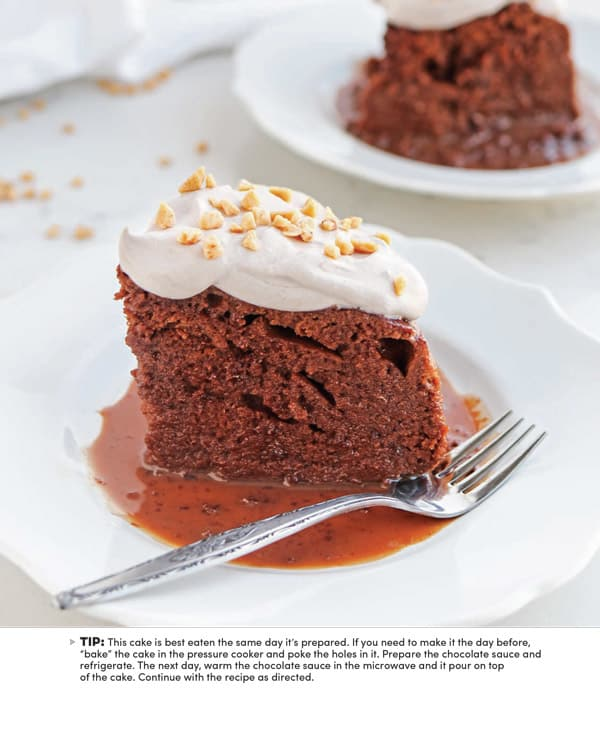 chocolate cake on a white plate