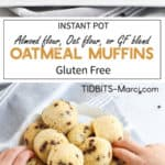 Oatmeal muffins with chocolate chips on a white plate