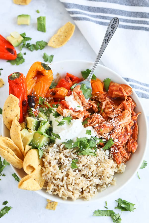 Chipotle Chicken in a white bowl with rice and vegetables