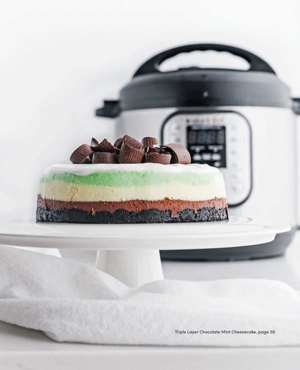 mint cheesecake on white plate with pressure cooker