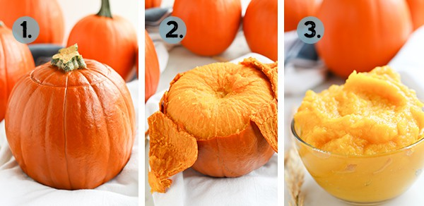 Collage on how to make homemade pumpkin puree