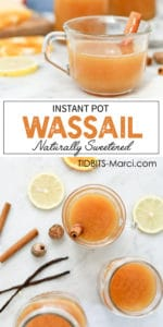 Hot Wassail in a cup with a cinnamons stick