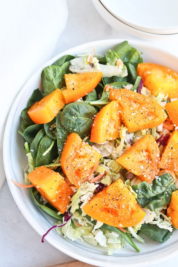 Yellow tomato and spinach salad