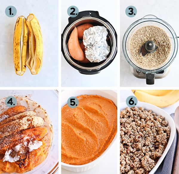Step by step collage of how to make sweet potato casserole