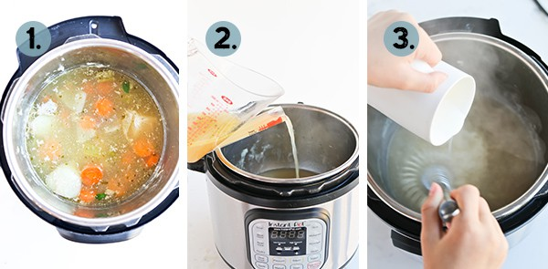 Collage of how to make gravy in a pressure cooker