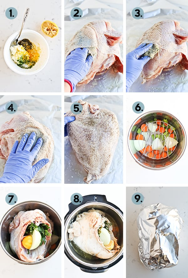 step by step collage of how to cook turkey breast