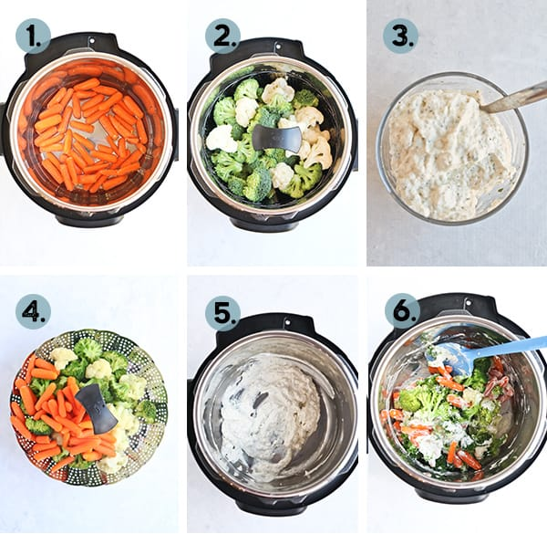 Step by Step collage on how to make cheesy vegetable medley