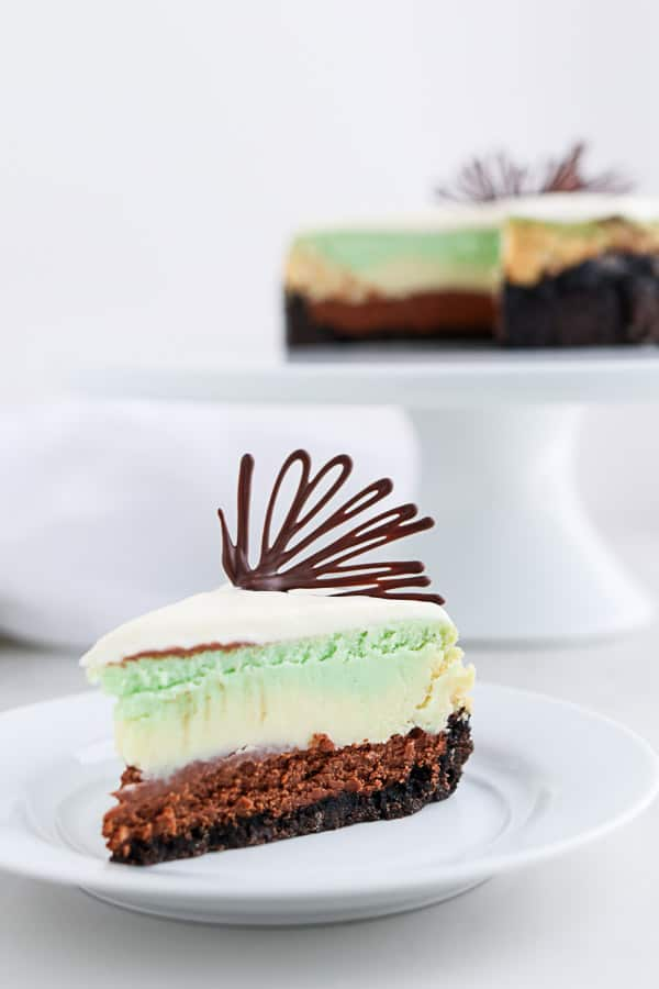 Mint cheesecake on a white plate with chocolate garnish