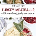 Turkey Meatballs on a white plate with cranberry sauce