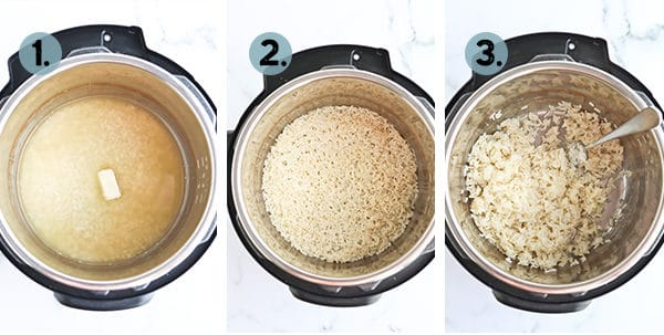 collage of step by step photos for making rice