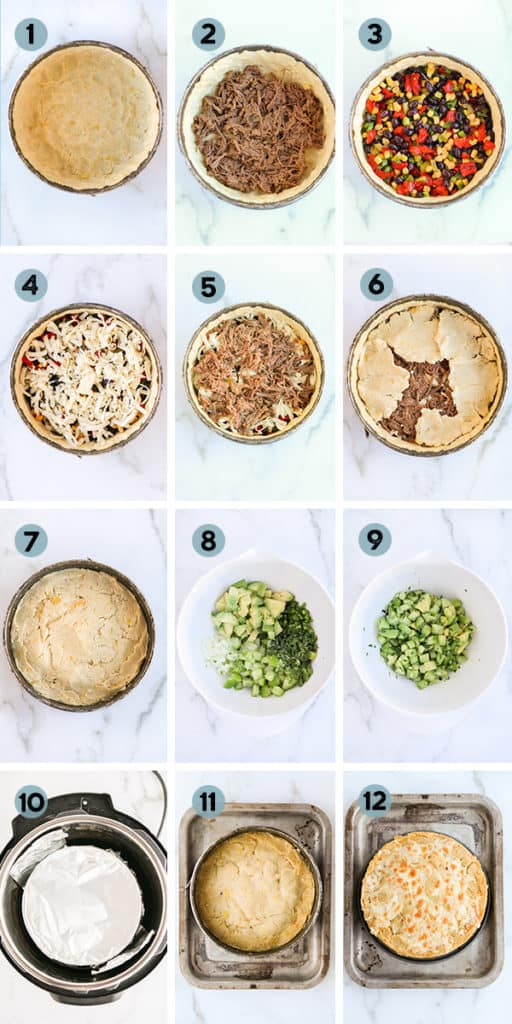 step by step collage of how to make a tamale pie
