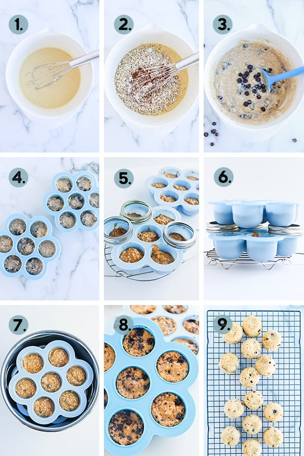step by step collage of how to make blueberry oatmeal muffins in the instant pot