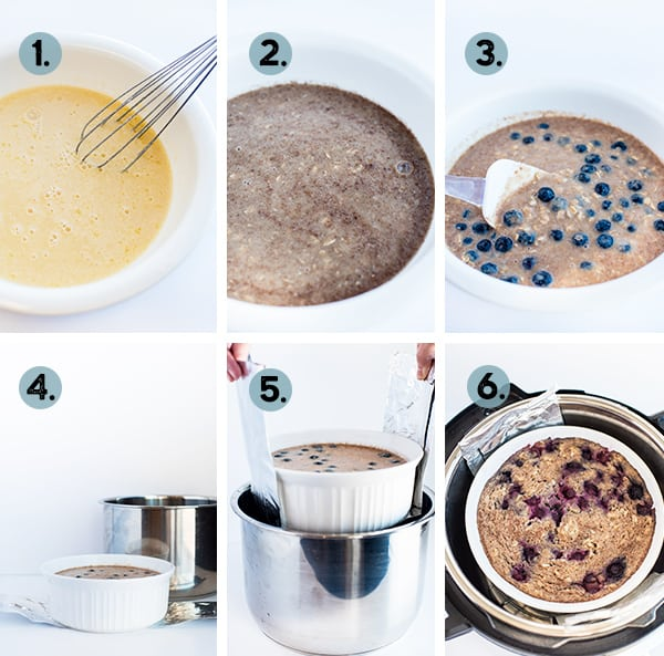 Step by step collage of how to make oatmeal in the instant pot