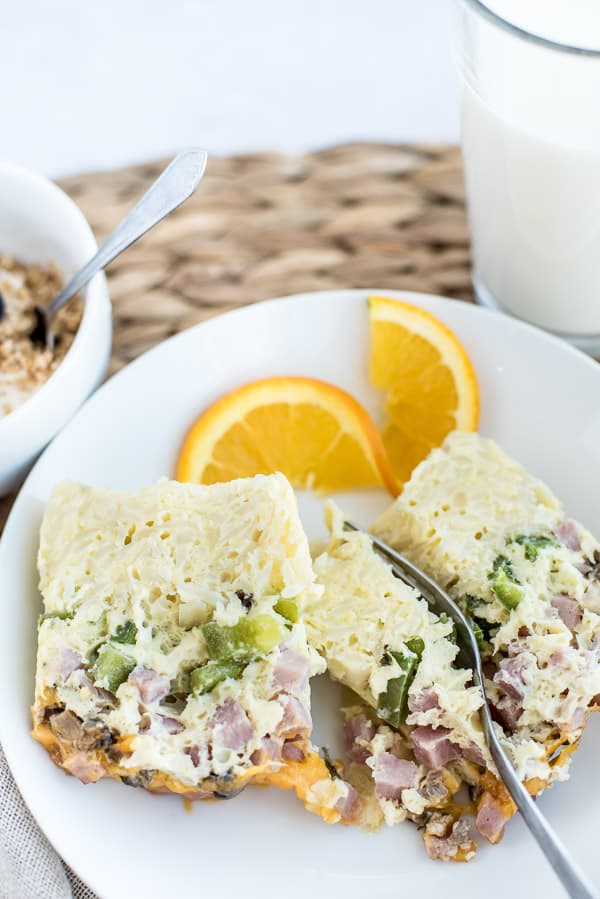 instant pot breakfast casserole on a plate with toast