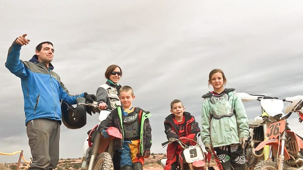 family by dirt bikes
