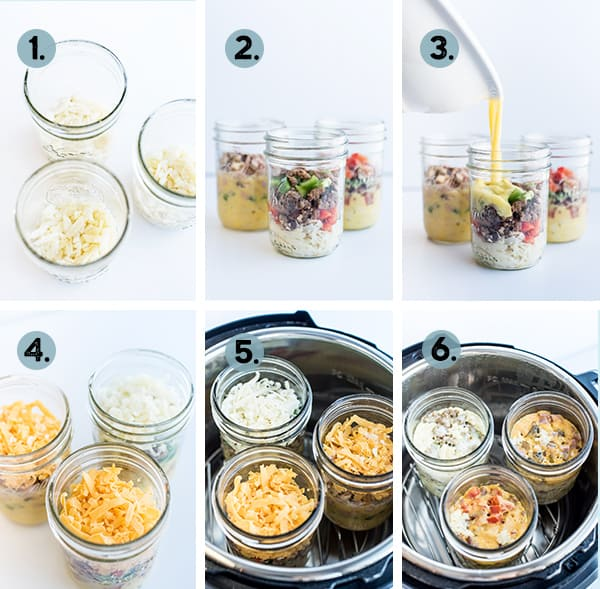 step by step collage of how to make a breakfast casserole in a mason jar