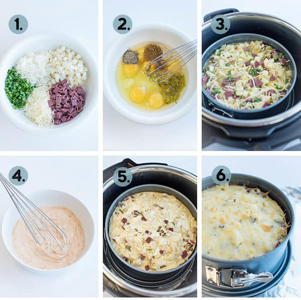 step by step collage for how to make a frittata in the Instant Pot