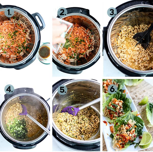 step by step collage of how to make Instant Pot Asian Chicken Lettuce Wraps