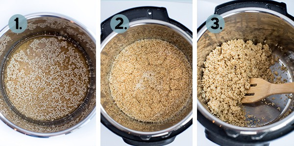 step by step collage of how to make instant pot quinoa