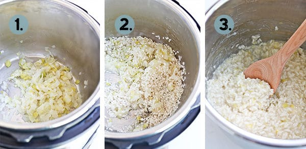 step by step collage of how to make risotto in the instant pot